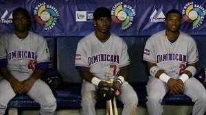 Damaso Marte, Jose Reyes y Robinson Cano después de la eliminación